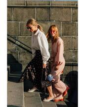 jumpsuit,long sleeves,white shirt,polka dots,midi skirt,mules,sunglasses,bag