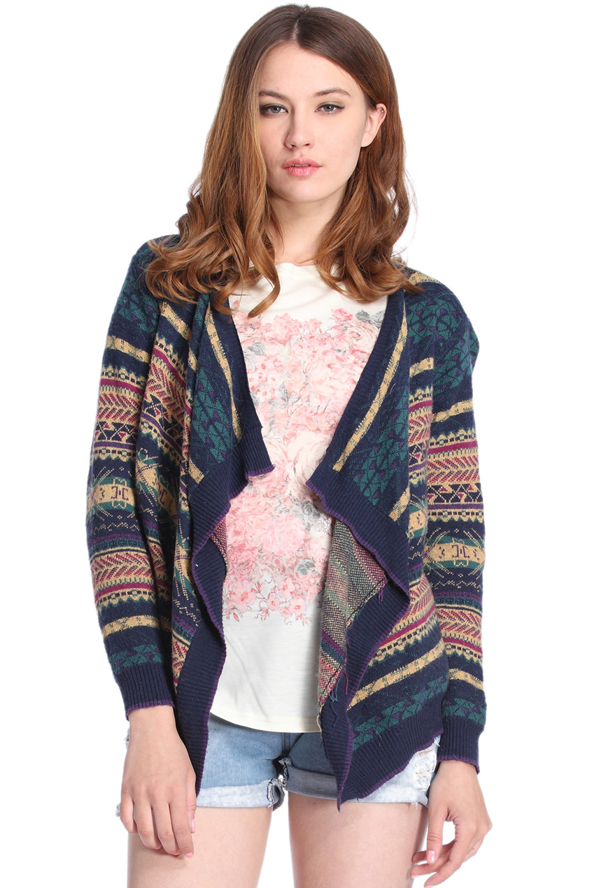 ROMWE | ROMWE Tribal Style Asymmetric Long Sleeves Navy Cardigan, The Latest Street Fashion