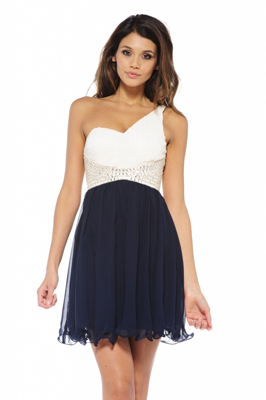 White Cocktail Dress Navy