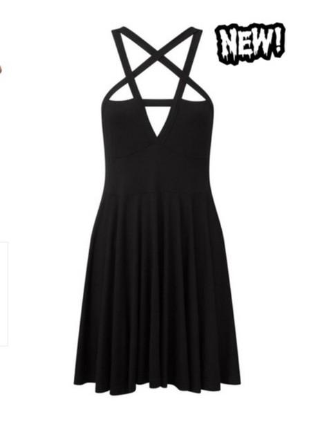 dress, pentagram, black clothes, short dress, girl, goth ...