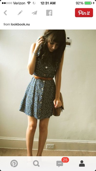 print sundress navy tiny print skater sleeveless floral belted belted dress buttons sundresses
