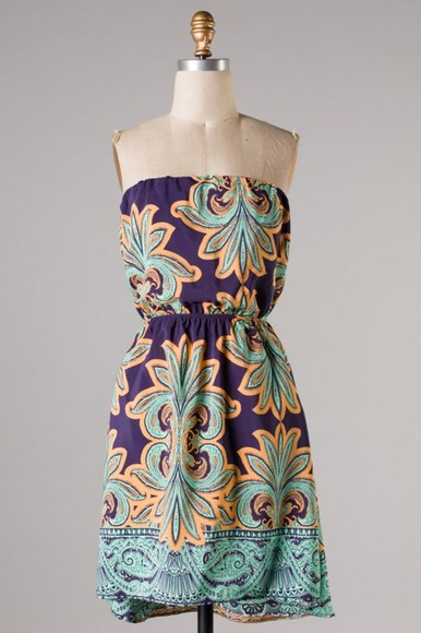 dress sundress strapless paisley