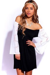 dress,black,white,lace,boho,vintage,hippie,gypsy,retro,bell sleeves,long sleeves,off the shoulder,mini,beach,summer,spring,2014,trendy,chic