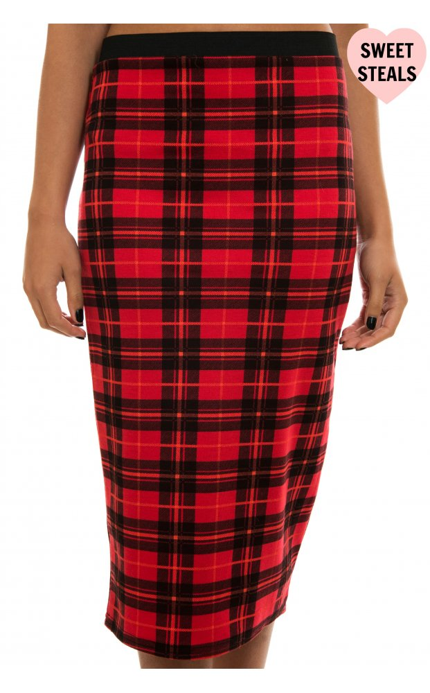 Hagan Red Tartan Print Jersey Midi Skirt - Holly Hagan from The ...