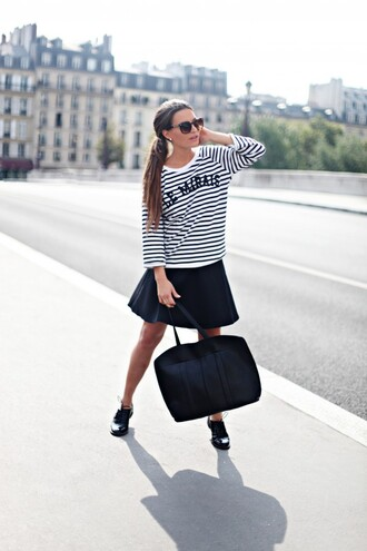frassy blogger skirt paris stripes black and white skater skirt
