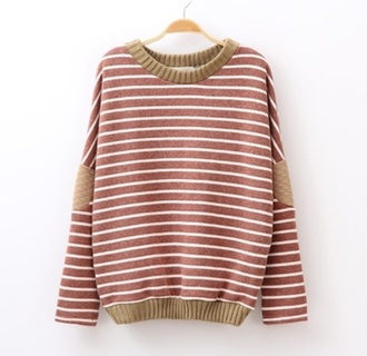 stripes elbow patches sweater pullover fall sweater cute