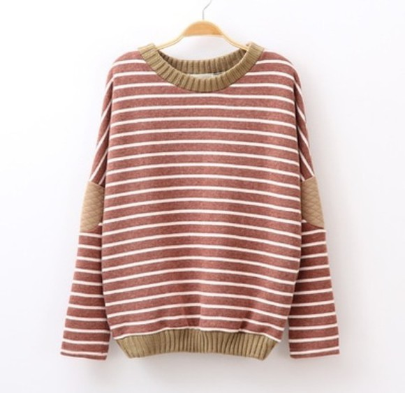 elbow patches cute stripes sweater pullover fall sweater