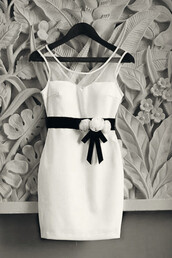 dress,white,black,black and white,bow,flowers,sheer,see through dress