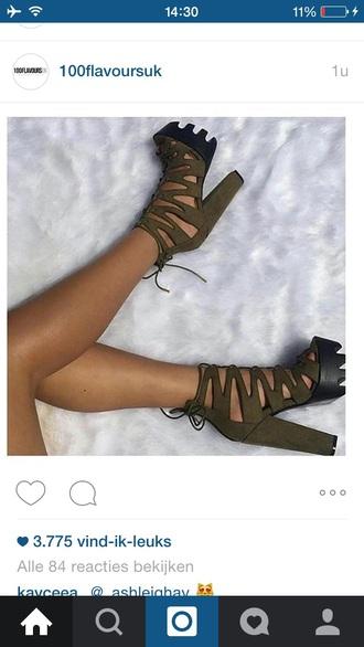 shoes kaki chunky heels high heels plateau platform highheels crocodile