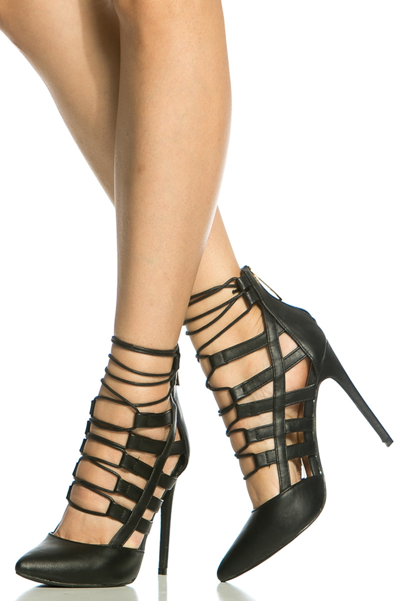Faux Leather Lace Up Pointed Toe Heels @ Cicihot Heel Shoes online