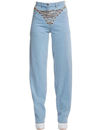 jeans denim lace cotton light blue light blue