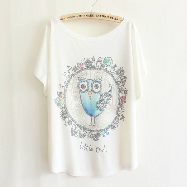 shirt owl owls owl sweater t-shirt t-shirt basic tee basics white t-shirt summer top summer spring outfits spring graphic tee