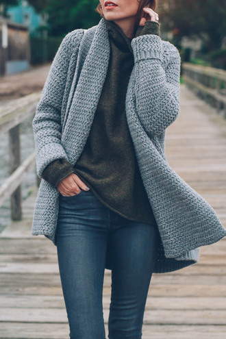 cardigan tumblr chunky knit grey cardigan sweater green sweater denim jeans blue jeans turtleneck turtleneck sweater
