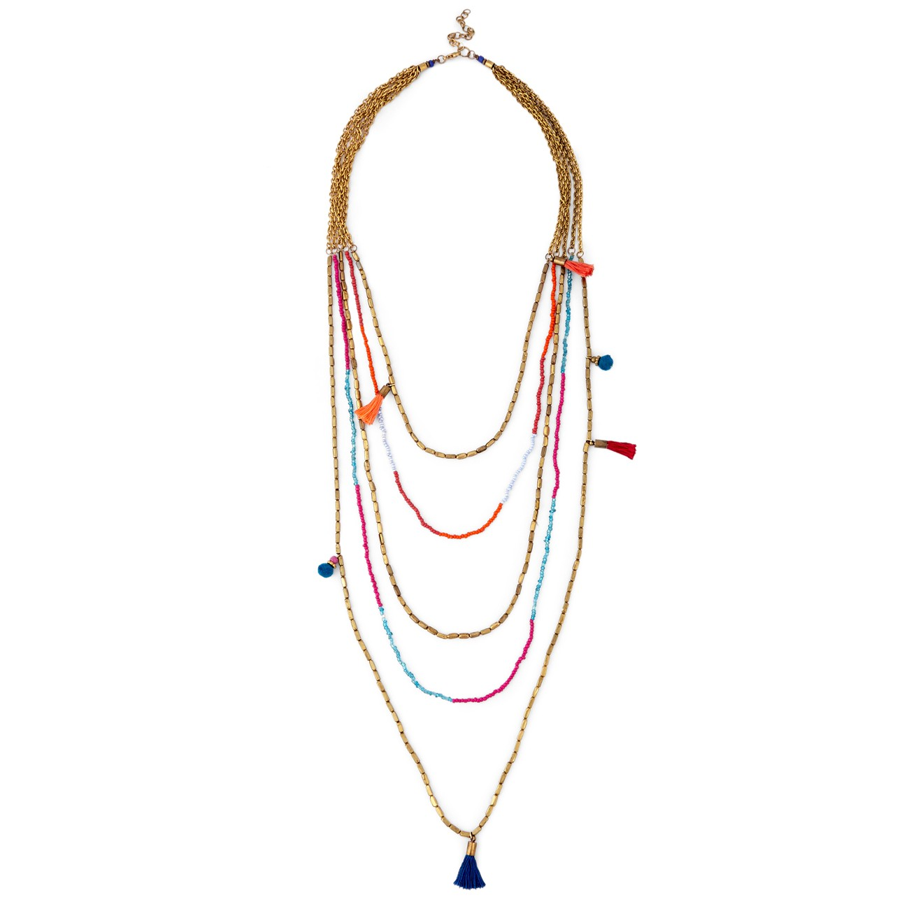 Layered Tassel and Pom Necklace