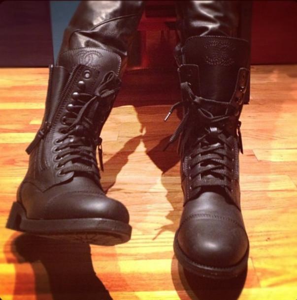 shoes chanel platform shoes biker biker boots black