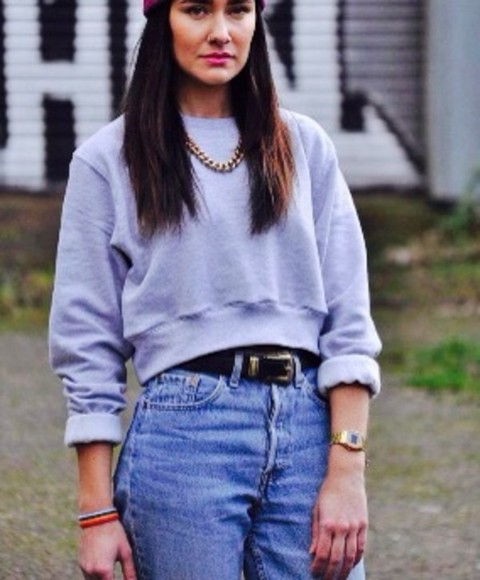 90's sweater grey cropped