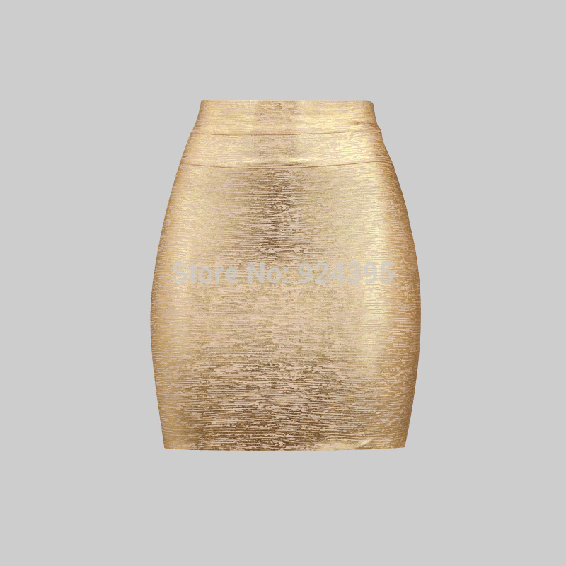 2014 new arrival women free shipping hl fashion summer sexy wholesale gold silver metallic back zipper bandage pencil skirts