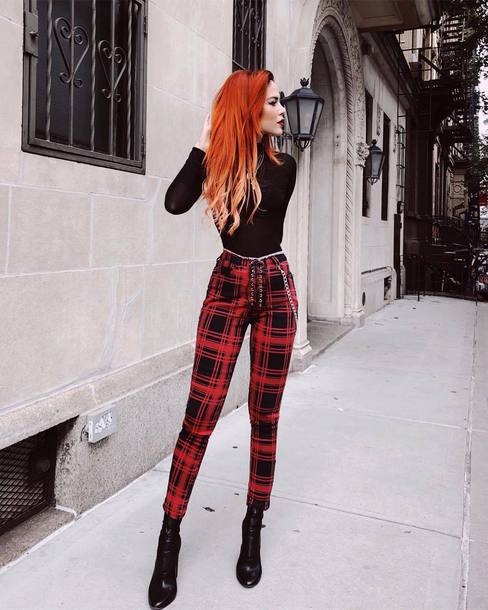 pants high waisted pants checkered pants sock boots black boots necklace turtleneck