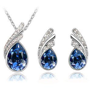 Stylish Jewellery Set Dark Blue Crystal Wings Studs Earrings & Necklace S289 | Amazing Shoes UK