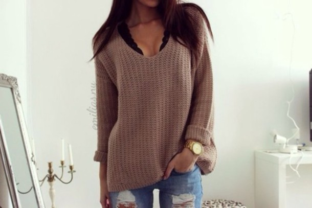 Sweater: underwear, jeans, blouse, brown, brownblouse, clothes ...