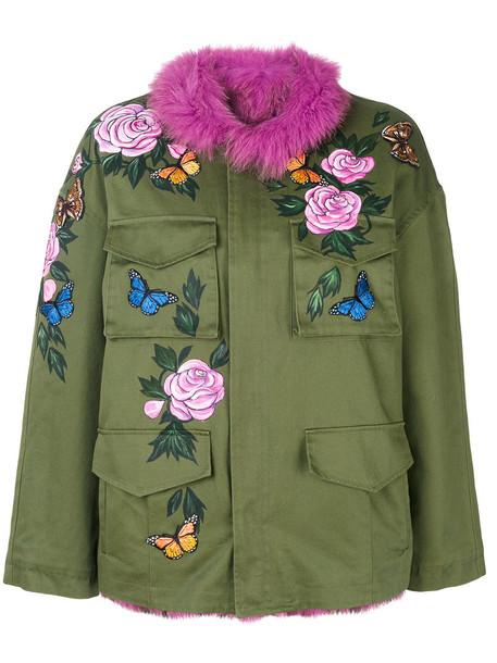 Liska jacket utility jacket fur fox women cotton green