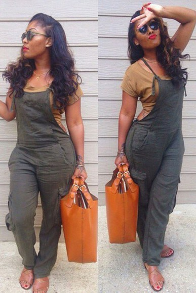 army green jumpsuit cargo tan shirt brown shirt
