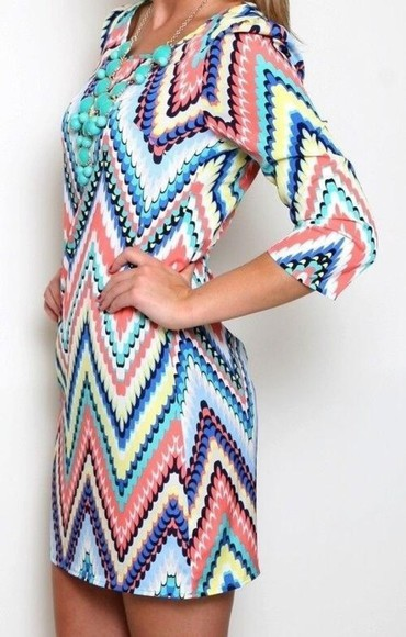 dress tunic pretty zig zag chevron multi multicolor pastels