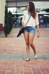 preppy fashionist,blogger,blouse,flats,denim shorts,sunglasses,jewels,shorts,shoes,bag