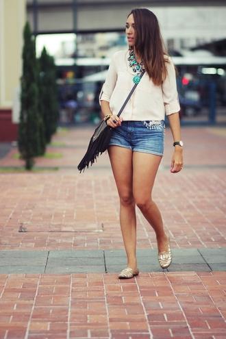 preppy fashionist blogger blouse flats denim shorts sunglasses jewels shorts shoes bag