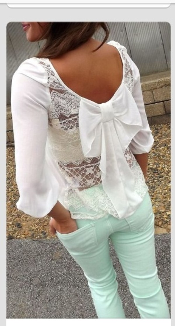 shirt clothes blouse jeans lace back blouse lace back lace white bow mint bows trendy cute shirt spring outfits lace blouses white lace top bow back big bow summer top lace back bow lone sleeve lacey back bow back shirt white lacw top white lace bow mint green jeans