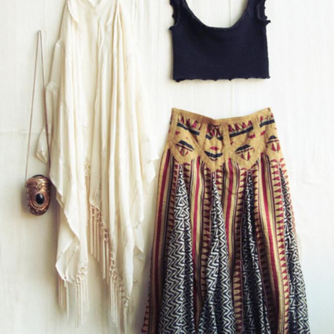 tank top coat skirt indie bag boho hippie colorful bohemian skirt