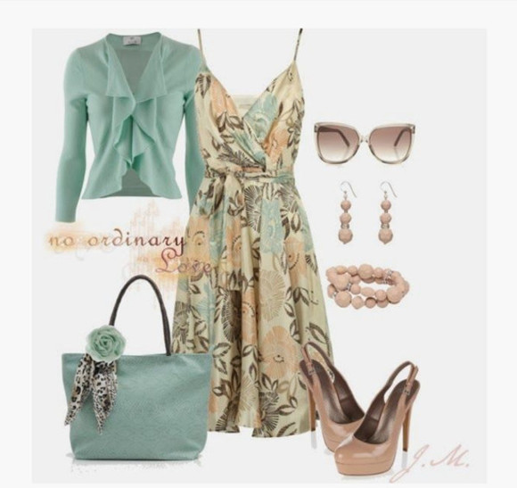 dress v-neck cross over top floral pattern earrings bag purse clothes outfit floral medium dress summer dress strap spaghetti strap sweater cardigan ruffled cardigan sunglasses high heels pumps mauve heels sling back heels