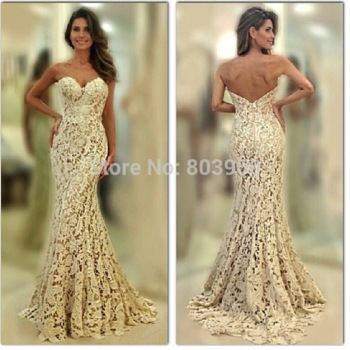Aliexpress.com : Buy Sexy Sweetheart Sleeveless Luxury Ivory Lace ...