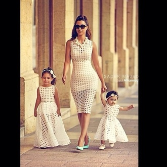 cream holes vintage shades fitted dress cotyon/elastane kids fashion fashion mommy & me mommy and daughter mommy and daughter matching dress mommy and daughter dress mommy and daughter fashion white dress