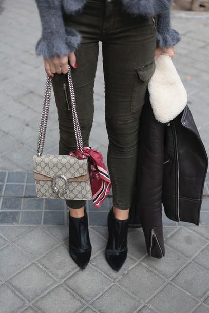 2788fbd47a6 pants tumblr green pants bag gucci gucci bag dionysus chain bag boots black boots  ankle boots