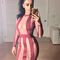 Long sleeve striped mesh bandage dress burgundy