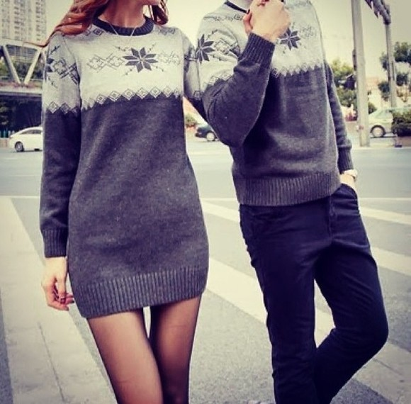 sweater gris grey winter sweater clothes winter dress pullover white blanc cute couple