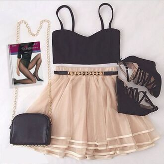 skirt skater skirt fashion style wedges wedge sandals purse bag tights pantyhose