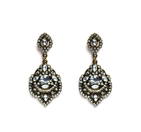 Antiqued Crystal Drop Earrings