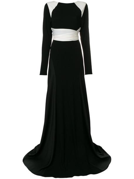 VIONNET gown long women spandex black silk dress