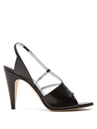 heel high sandals leather black shoes