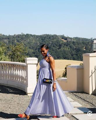 bag tumblr clutch dress maxi dress long dress blue dress sandals sandal heels shoes