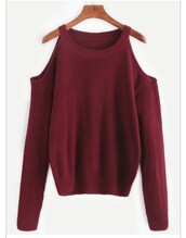sweater,burgundy,red,jumper,cute,cut-out,cold shoulder,cold shoulder sweater