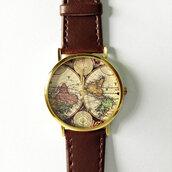 jewels,map print,freeforme watch,freeforme,watch,style,leather watch,womens awtch,womens watch,mens watch,unisex