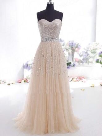 dress long dress long prom dress prom dress sweet heart champagne