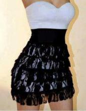 Vestido renda preto com branco