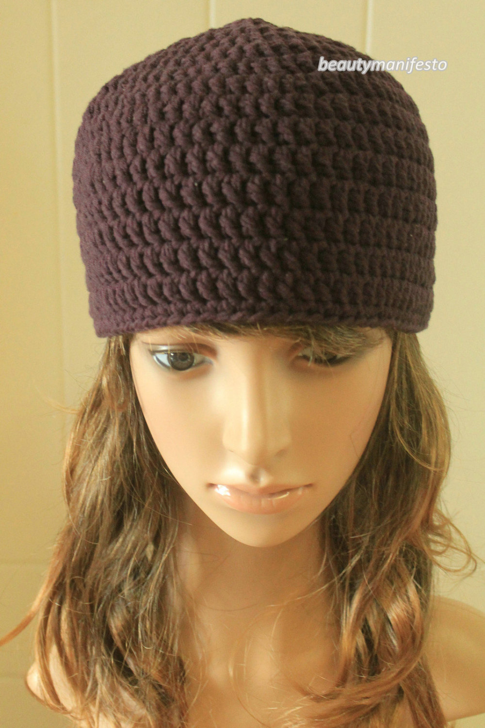 Sale slouchy chunky colorful knitted hat in vibrant violet