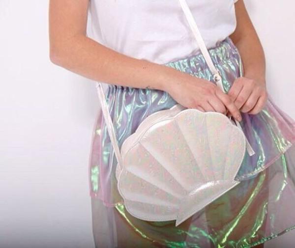 bag mermaid shell mermaid skirt clutch pearl glitter purse shell white bag seashell bag clear holographic