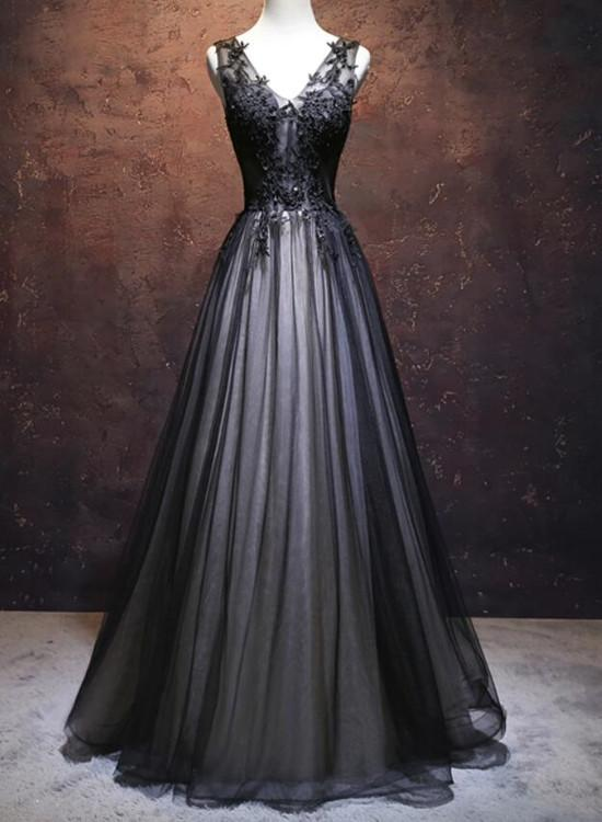 Black Prom Dress V-neckline Long 2018, Black Party Dresses, Black Evening Dresses