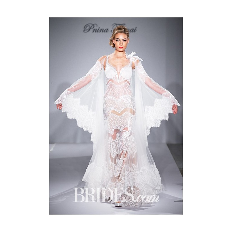 c503765682 Pnina Tornai for Kleinfeld - 2015 - Style 4359 Sleeveless Illusion Lace  Sheath Sweetheart Cape Wedding Dress - Stunning ...